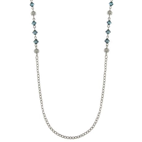 Downton Abbey Flapper Style Chain Necklace With Blue Crystals