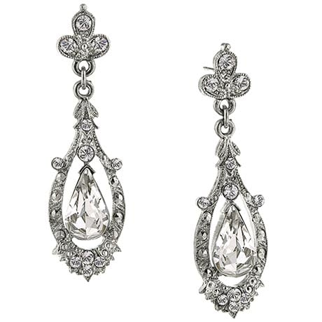 Downton Abbey Silver Tone Filigree Crystal Earrings