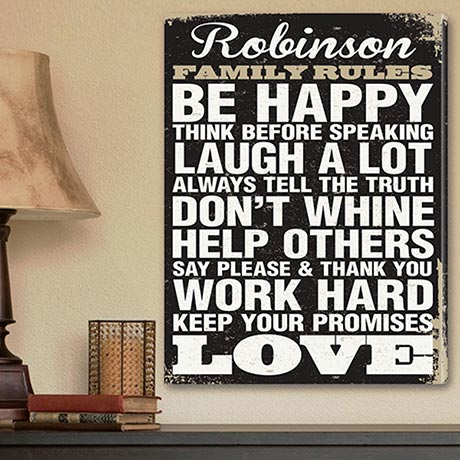 Antique Style Family Rules Canvas Print