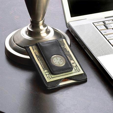 Personalized & Monogrammed Men's Black Leather Wallet & Money Clip