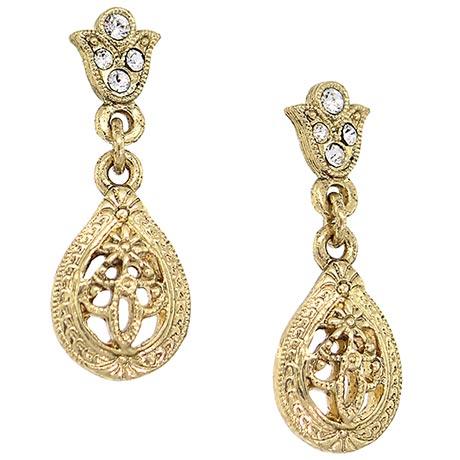 Downton Abbey Gold Tone Filigree Crystal Teardrop Earrings