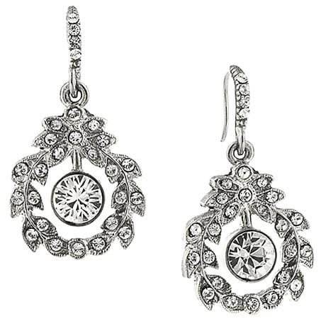 Downton Abbey Silver Tone Crystal Garland Earrings