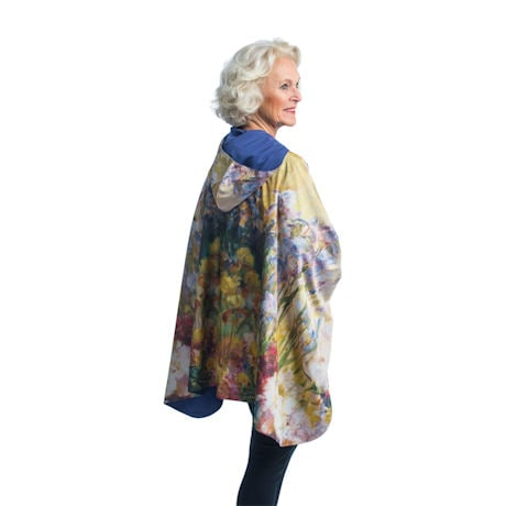 Tiffany Peonies & Iris Reversible Rain Cape