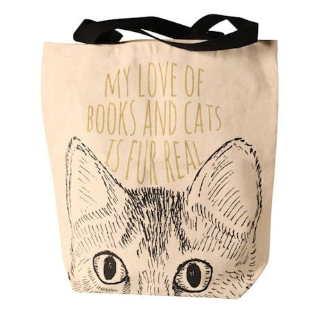 Books and Cats Canvas Tote