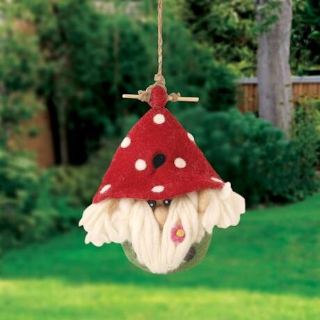 Felted Wool Garden Gnome Birdhouse