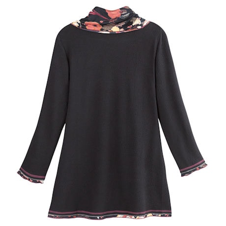 Floral Cowl-Neck Crossover Tunic