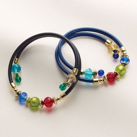 Murano Glass Memory Wire Bracelet