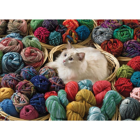 Fur Ball Cat with Yarn 1000 Piece Jigsaw Puzzle