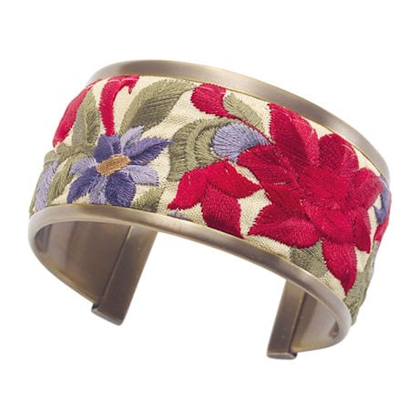 Embroidered Ribbon Trim Cuff Bracelet