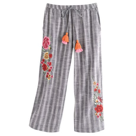 Embroidered Cropped Pants