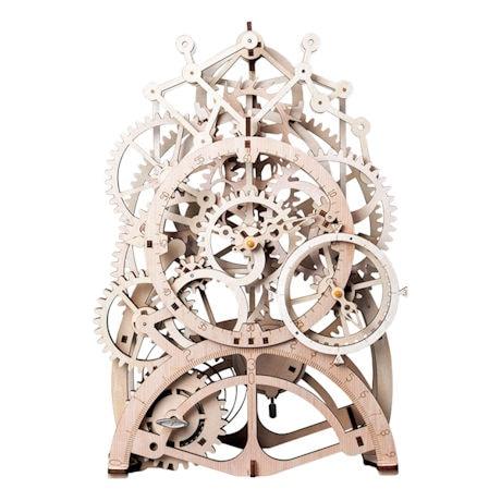 Wind-Up Skeleton Wooden Mechanical Clock Kit