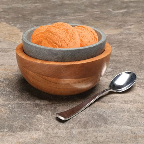 Soapstone and Wood Ice Cream Bowl