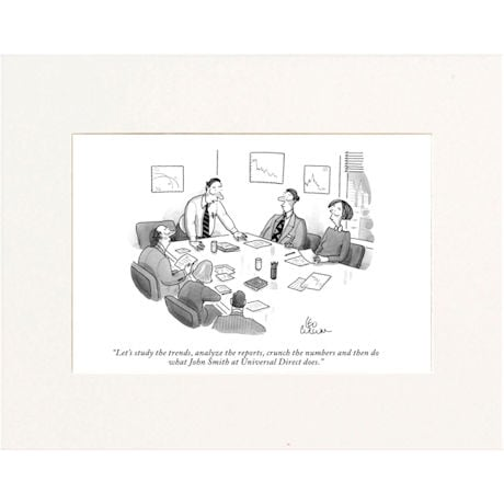 Study the Trends Custom Cartoon - Personalized New Yorker Cartoonist Print - Matted