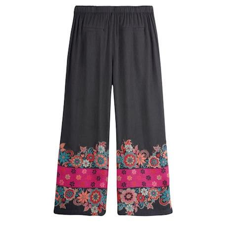 Floral Border Cropped Pants