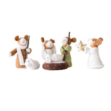Felted Wool Mice Nativity Scene - 6 Piece Set