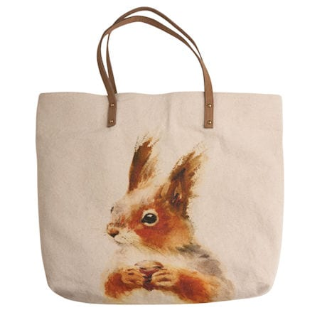 Watercolor Wildlife Canvas and Leather Tote