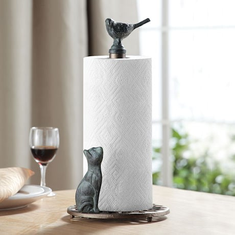 Cat and Bird Paper Towel Holder