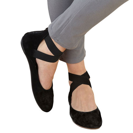 Arabesque Ballet Flats - Suede Shoes with Zip-back close - Black or Grey