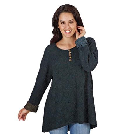 Nubby Cuffed Sweater Tunic Top