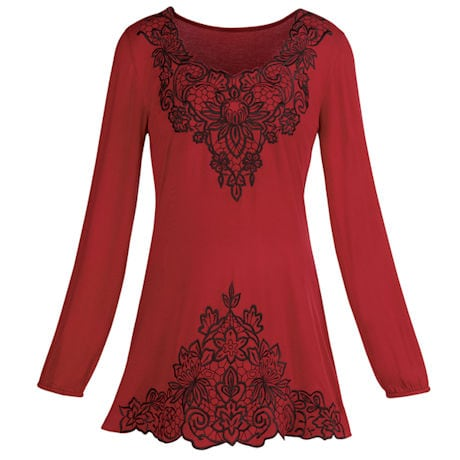 Mirror Image Embroidered Tunic Top