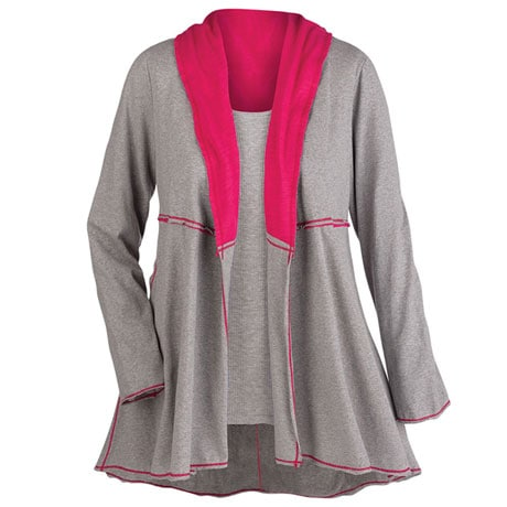 Conversational Knit Shawl Jacket