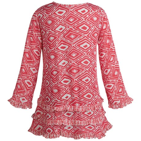 Luna Pink And White Ruffle Tunic Top