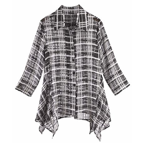 Windowpane Check Tunic Top