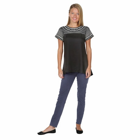 Long Tunic Top - Geo Embroidered Short Sleeve Blouse