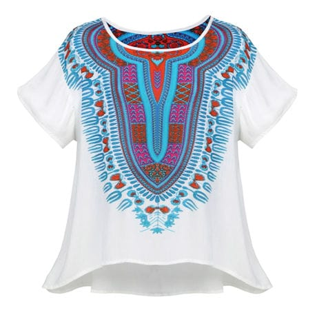 Globetrotter Dashiki Print Tunic Style T-Shirt