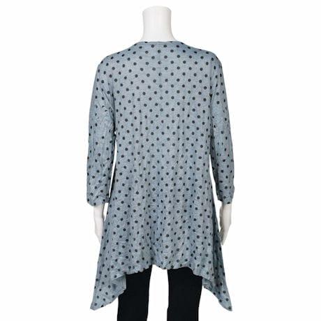 Jess & Jane Grey & Black Polka Dot 3/4 Sleeve Melange Crushed A-Line Long Tunic