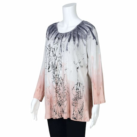 Parsley & Sage Dawn Floral Scoop Neck Boho Tunic Top