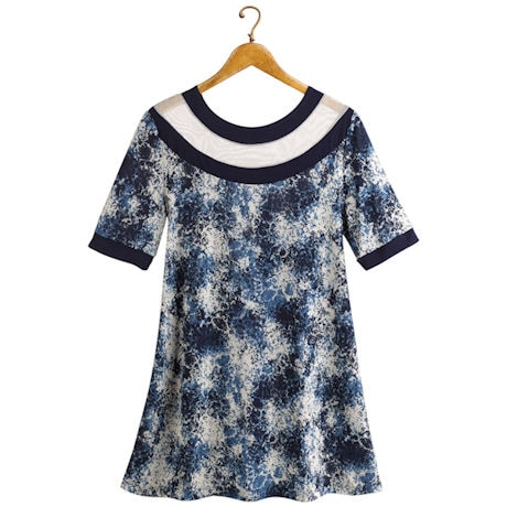 Navy Confetti Tunic Top