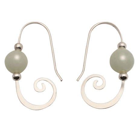 Amazonite Curl Sterling Earrings