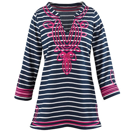 Regal Stripe Embroidered Tunic