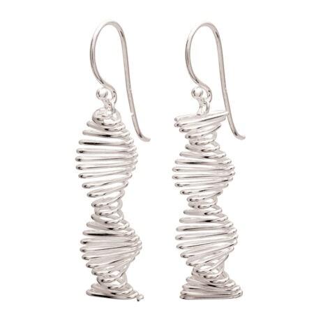 Sterling Spiral Helix Earrings