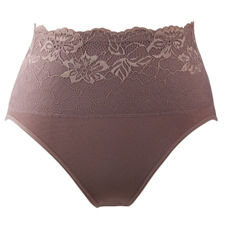 Seamless Brief With Lace Overlay