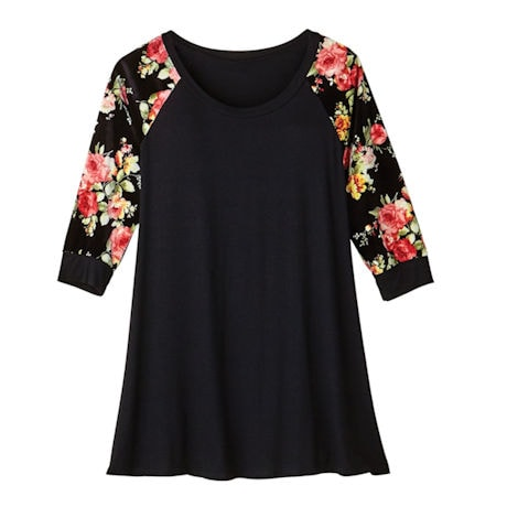Black Velvet Tunic With Floral Sleeves