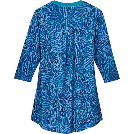 Teal Mosaic Pleated-Front Tunic