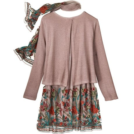 Embroidered Garden Layered Tunic 'N Scarf
