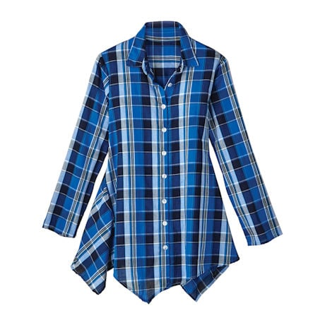 Royal Blue Plaid Big Shirt