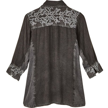 Smokey Pewter Embroidered Shirt