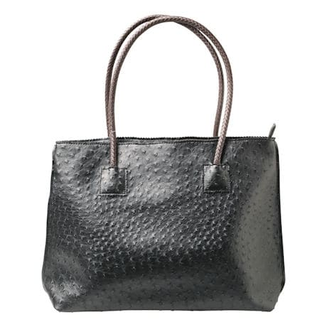 Vegan Ostrich Tote Handbag - Zip Close