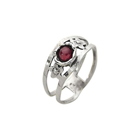 Garnet 'N Sterling Open-Band Ring