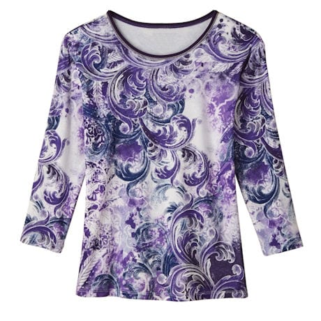 Sweeping Violet Paisley Knit Top