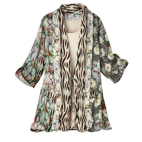 Washable Silk Patchwork Print Kimono