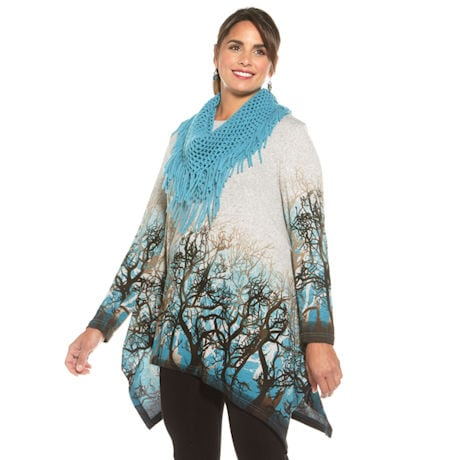 Forest Thru The Trees Sweater With Scarf