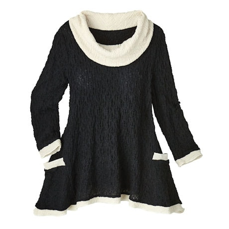 Textured Dress-Up Cowl Neck Tunic