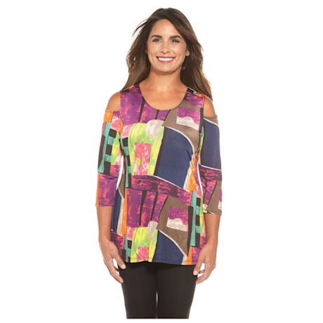 Cool Shoulder Optic Watercolor Tunic