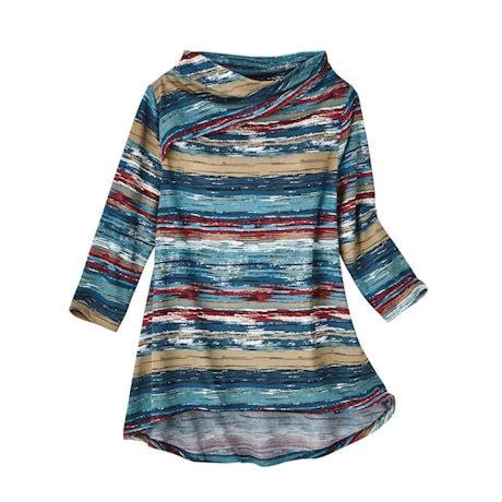 Soft Knit Drape-Neckline Variegated Stripe Top