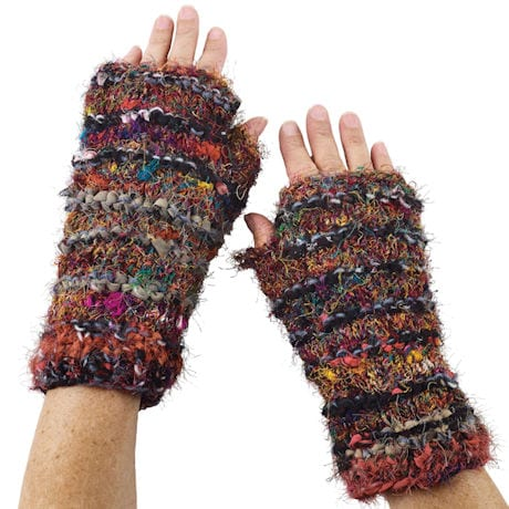 Recycled Silk Ruby-Red Accessories - Fingerless Glove